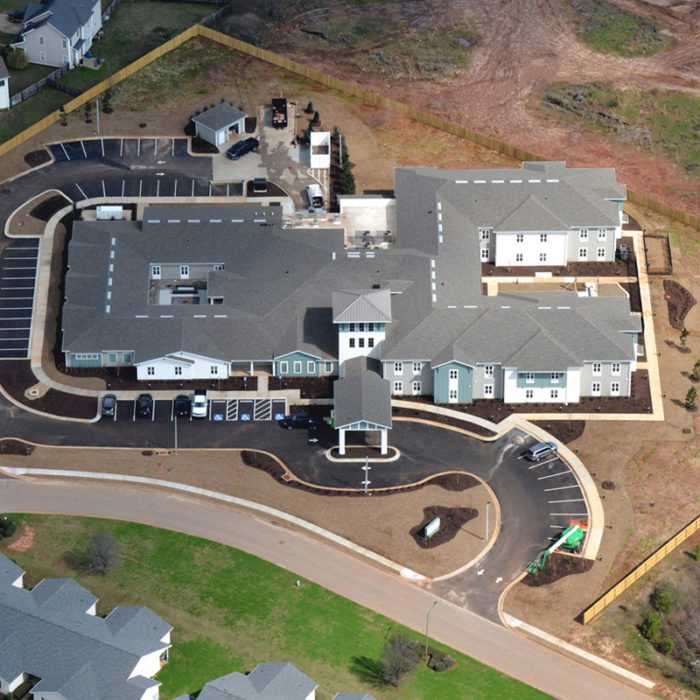 Aerial view of assisted living apartments in Georgia