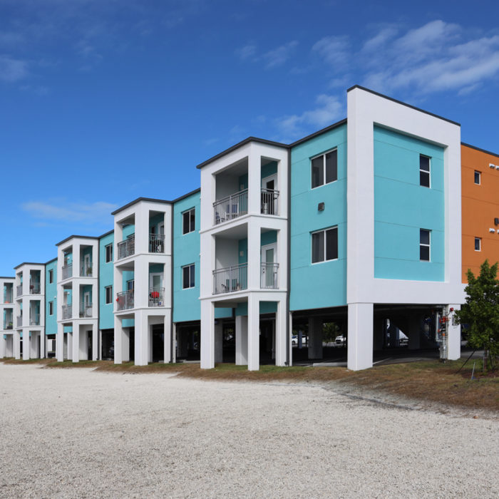 Colorful apartment building at The Quarry in the Florida Keys