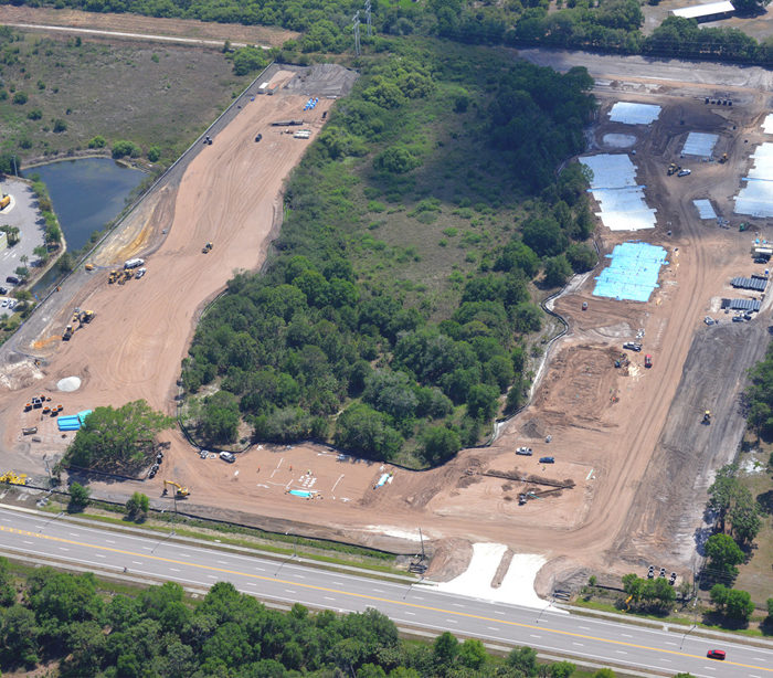 aerial of construction site in venice florida