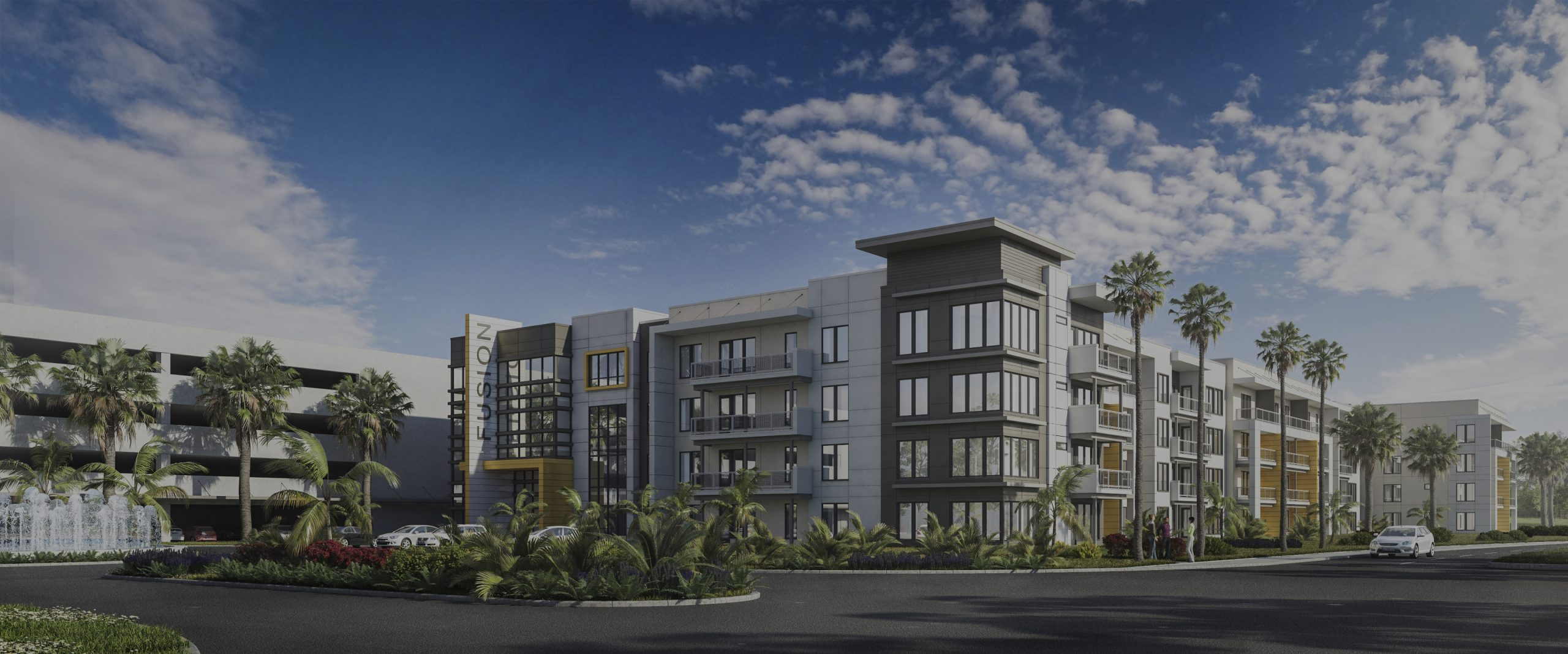 """Rendering of multi level apartment building with """"Fusion"""" sign"""