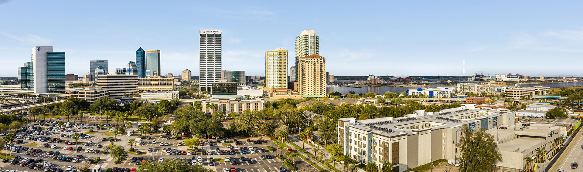 view of Southbank Downtown Jacksonville with SoBa Apartments in the foreground