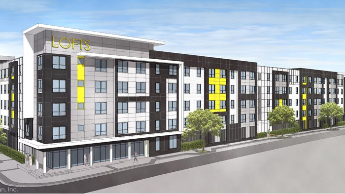 Multi story apartment complex rendering