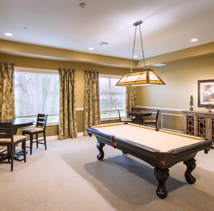 Madison Crossing Market Rate Senior Living Apartments Billiards Room