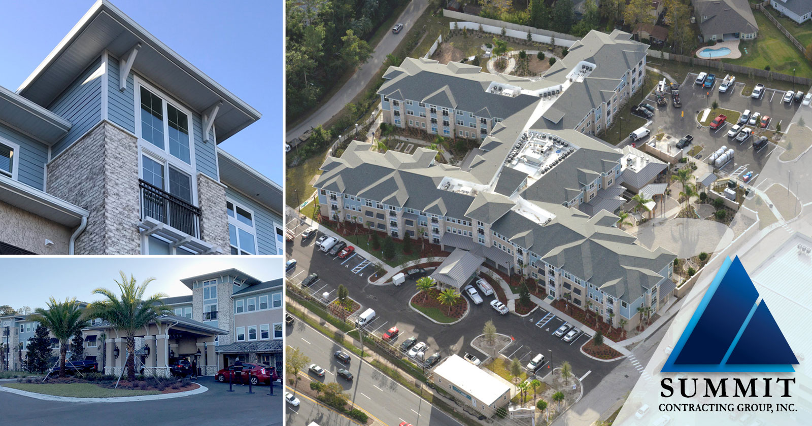 Collage of photos including an aerial view of HarborChase of Mandarin Market Rate Senior Living by Summit