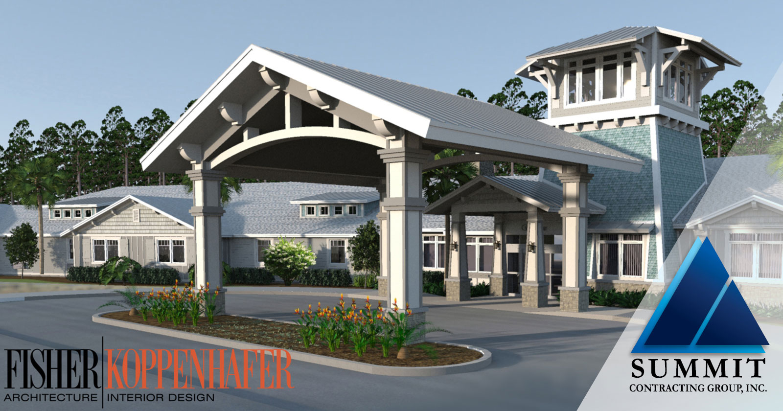 Entrance photo of The Canopy at Harper Lake Senior Living by National Multifamily Contractor Summit for Fisher / Koppenhafer Design