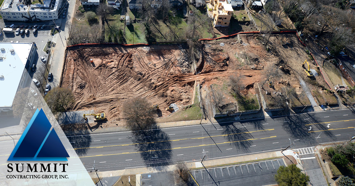 Aerial photo of construction site for Old Fourth Ward Market Rate Apartments by Summit