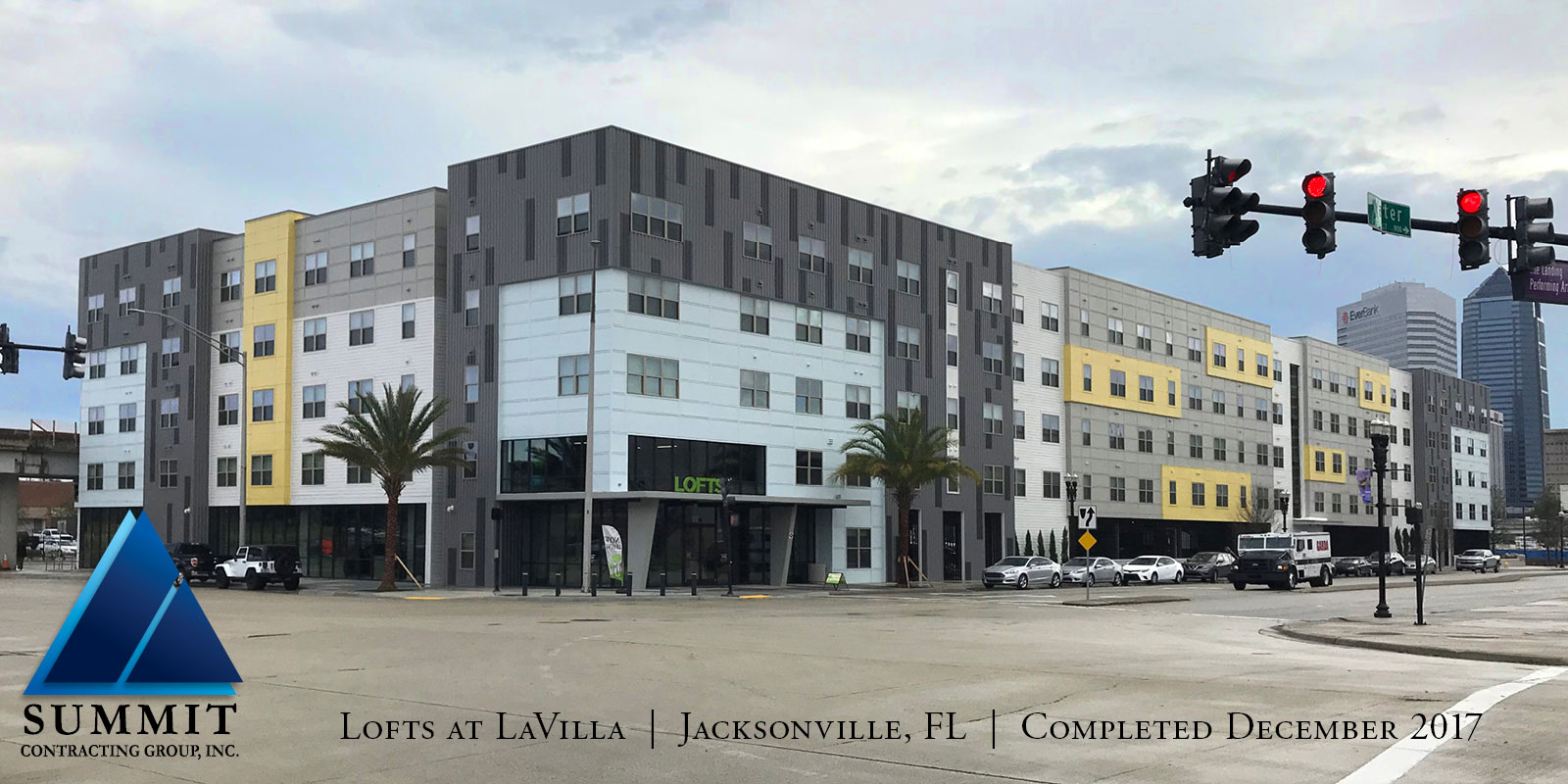 Exterior of building for The Lofts at LaVilla Tax Credit Apartments completed in December 2017