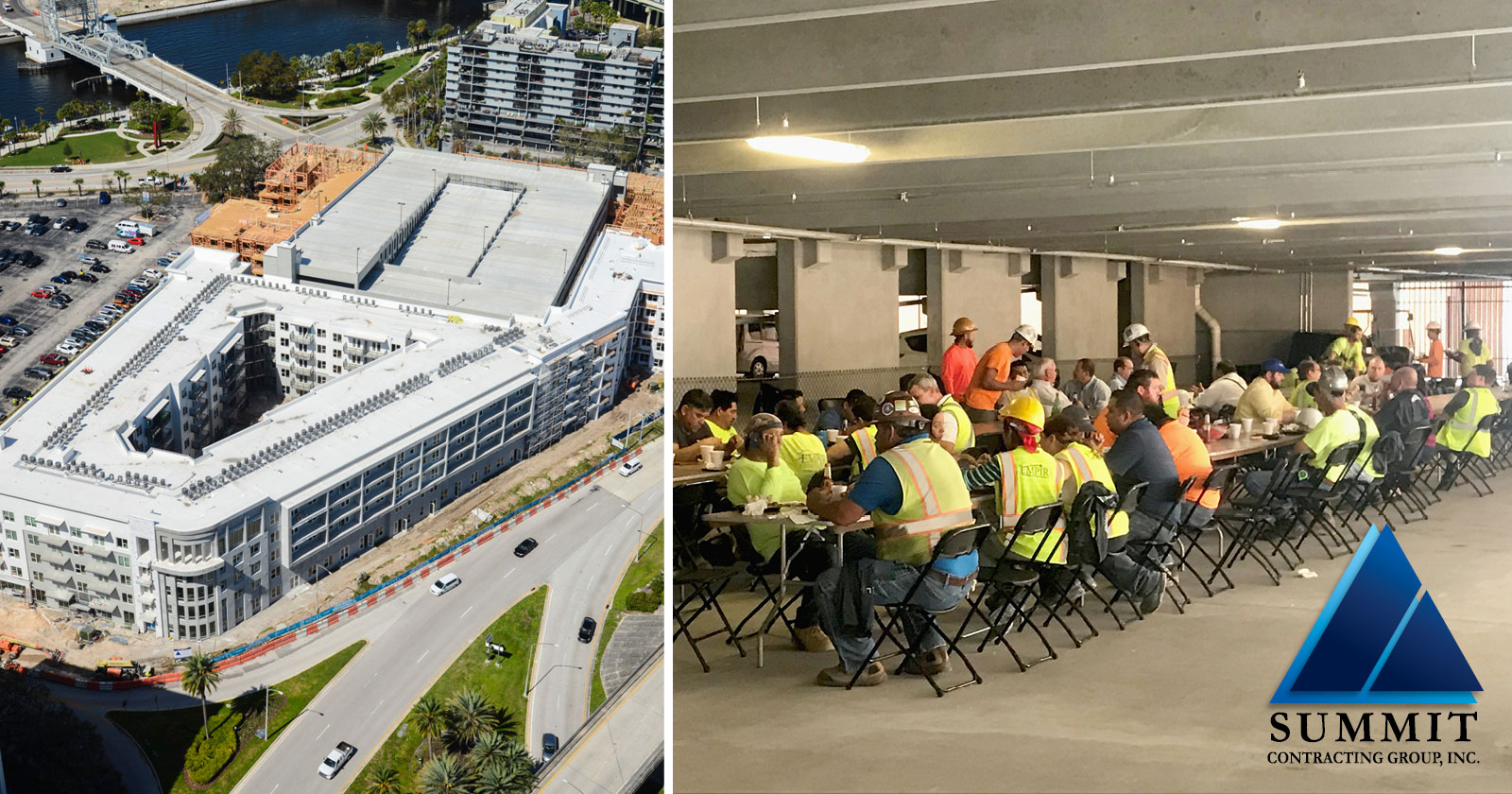 Aerial view of apartment building and a photo of construction workers at lunch