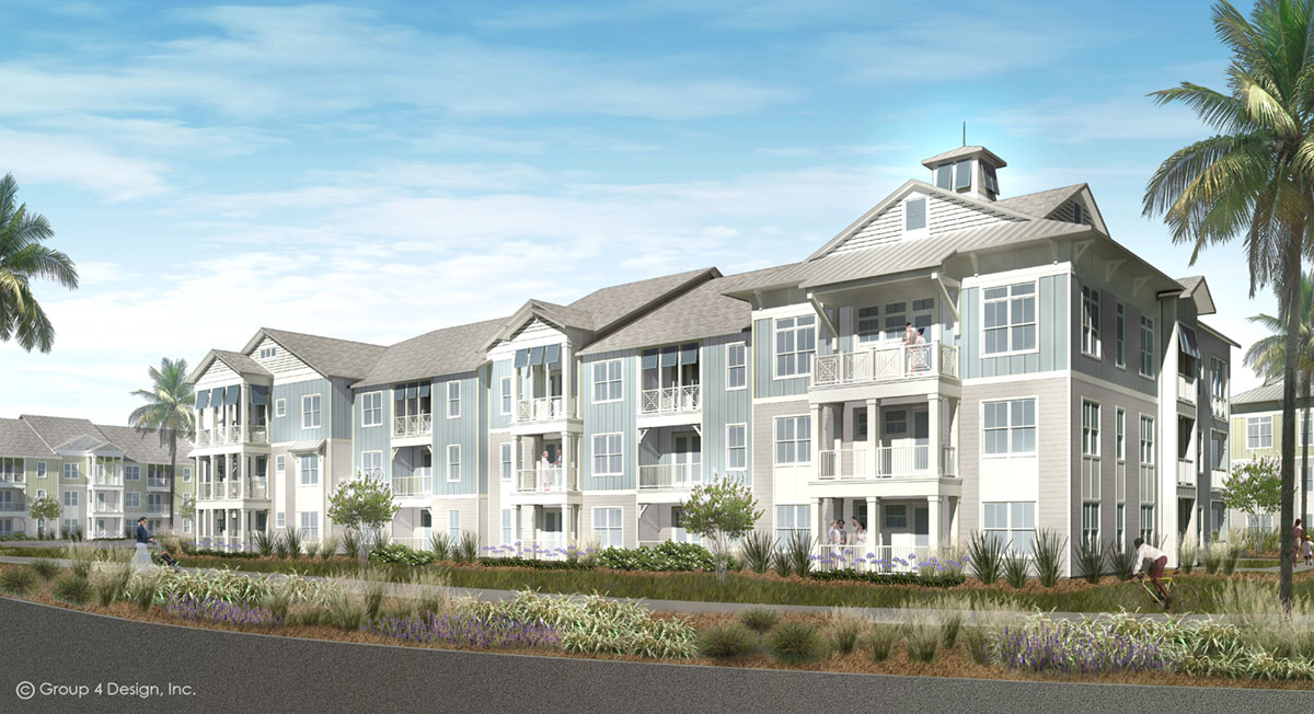 Rendering of a building with people on balcony for The Reserve at Nocatee Market Rate Mixed-Use Apartments