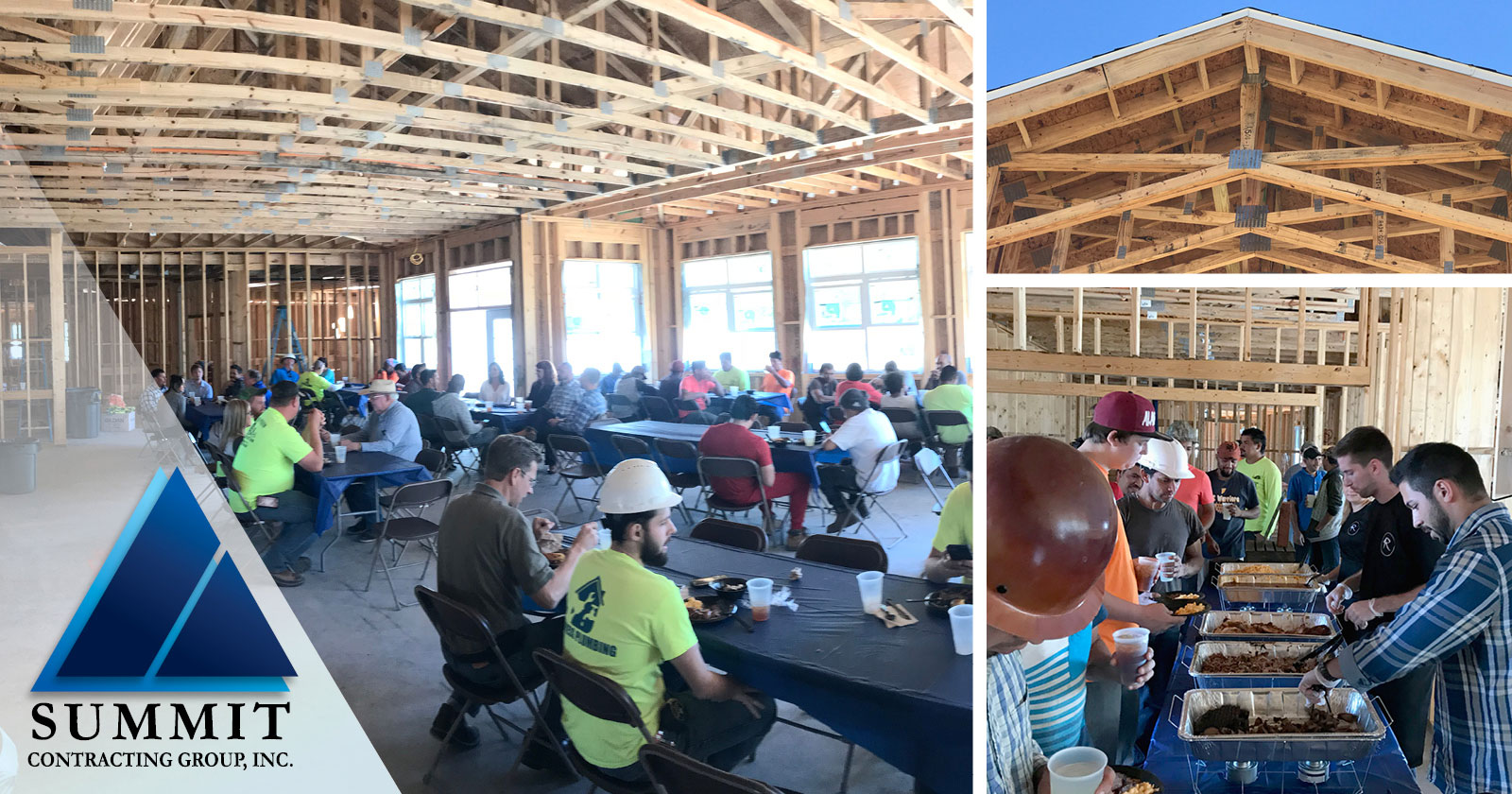 Photo collage of Summit construction workers at a barbecue luncheon on site