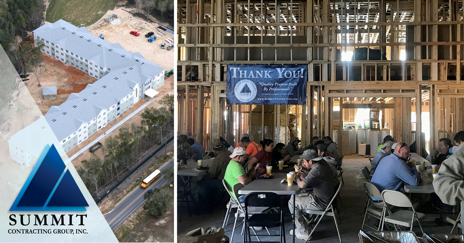 Aerial view of apartments with a photo of construction workers eating lunch