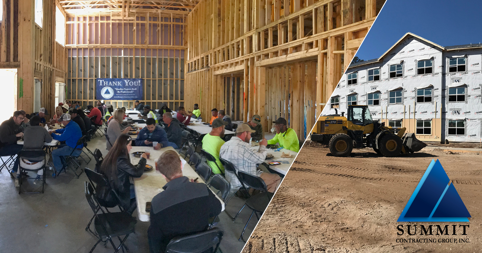 Construction workers eating lunch and exterior of building being constructed