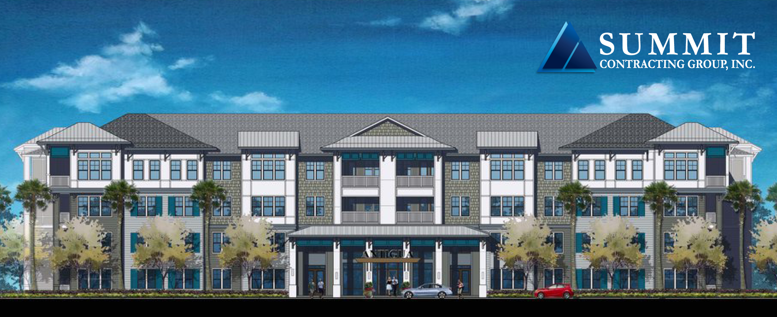 Front view rendering of Antigua Apartments Market Rate Apartments