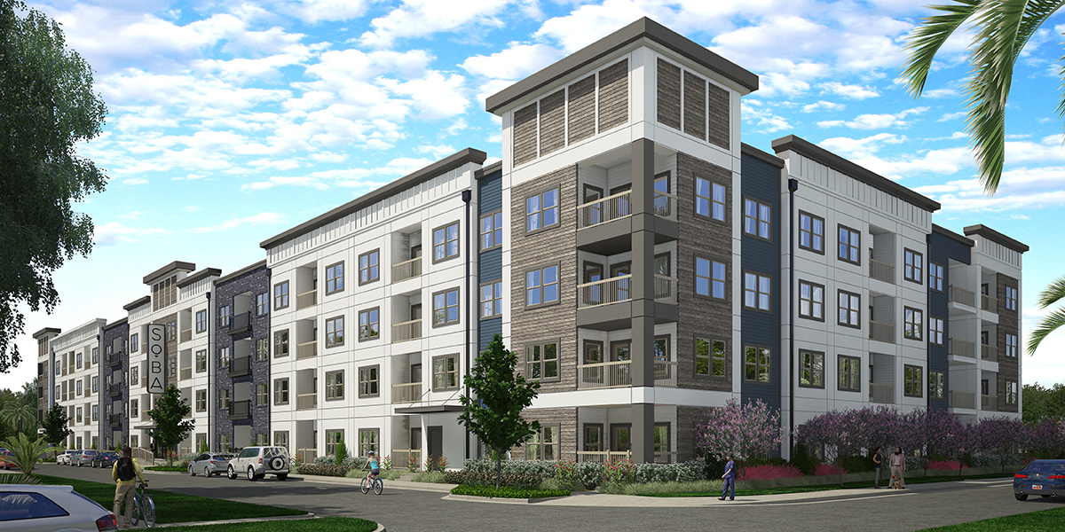 Corner view rendering of SoBa Market Rate Apartments