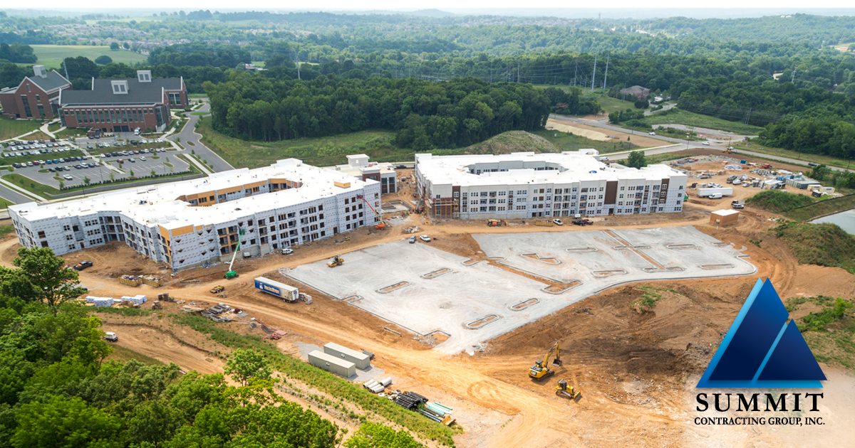 Aerial view of construction area for Mosby Carolina Forest HUD Apartments