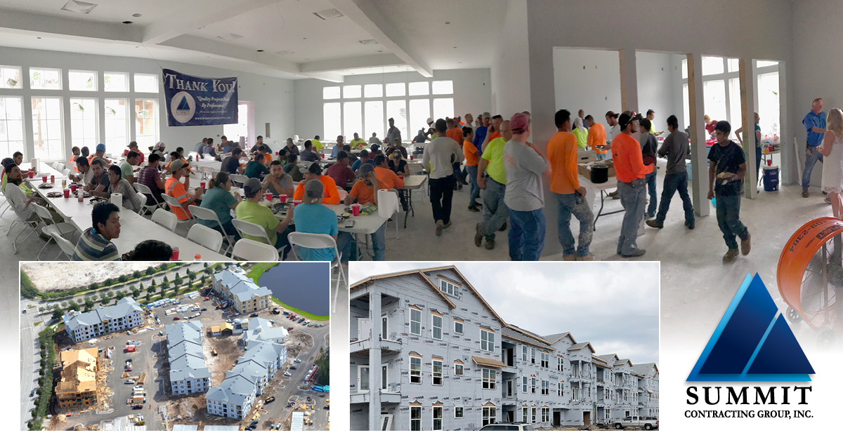 Collage of construction and workers eating lunch for The Reserve at Nocatee Market Rate Apartments
