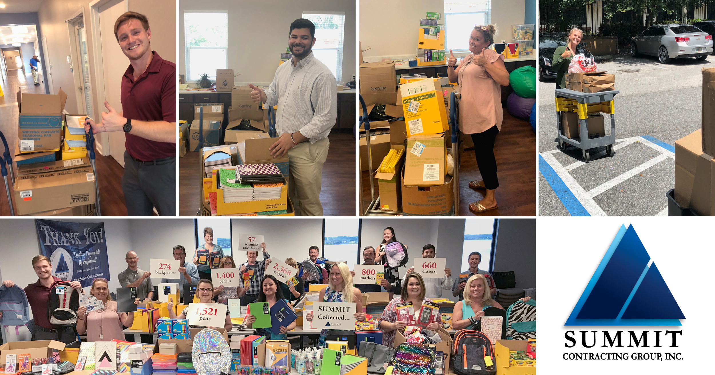 Summit Contracting Group School Supply Drive Employee Photos 2018