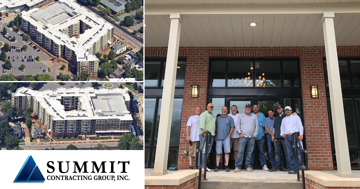 Collage of aerial photos of Summit construction of the Theory Raleigh student housing