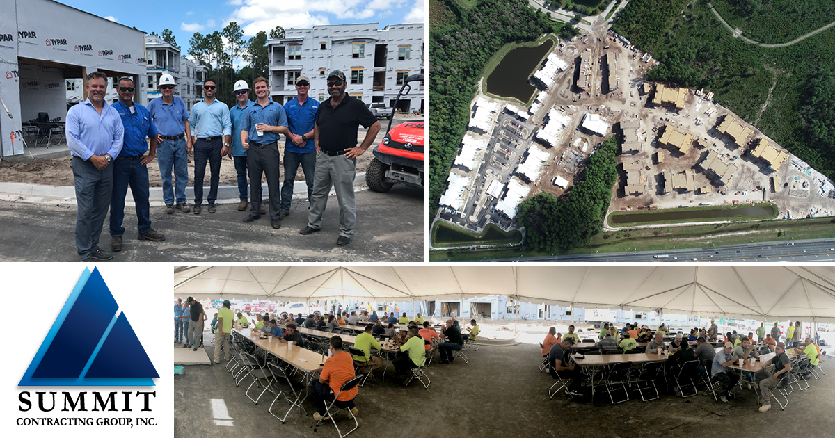 Collage of Summit employees and construction workers eating at Luxor Club Market Rate Apartments