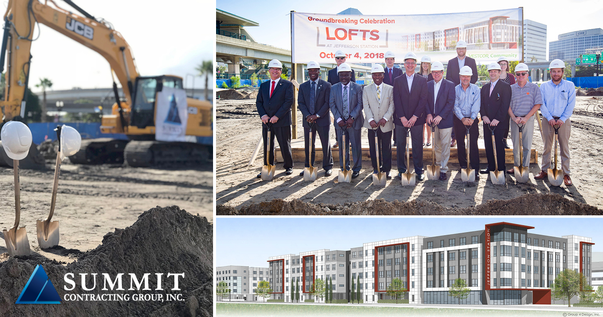 Photos of groundbreaking event, construction, and rendering of Lofts at Jefferson Affordable Housing