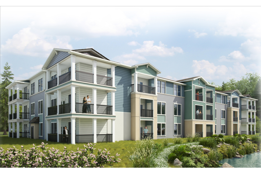 Rendering of Volaris West Kernan Market Rate Apartments with couple on balcony