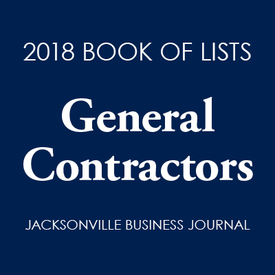 Logo of 2018 Book of Lists General Contractors by Jacksonville Business Journal