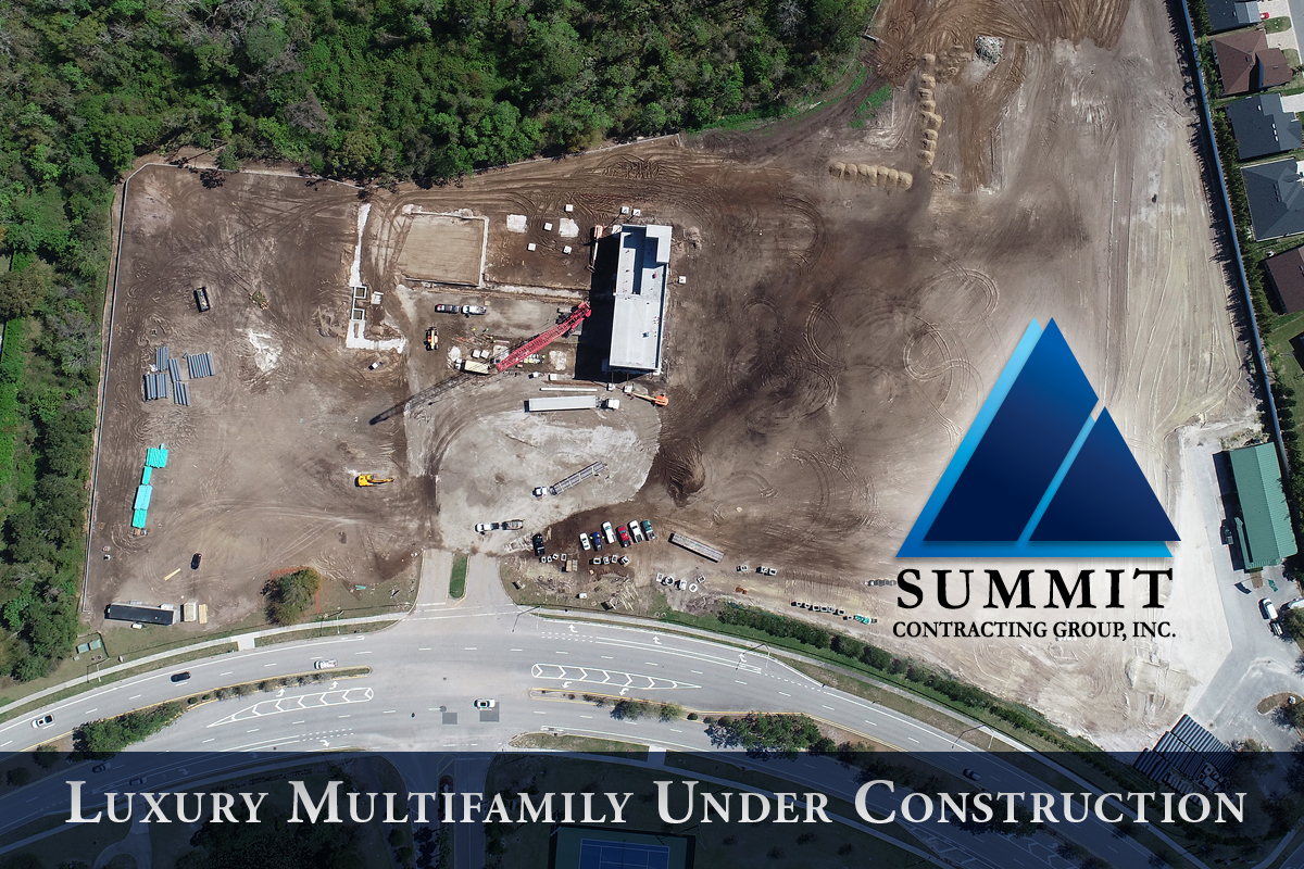 Aerial shot of Fusion mutifamily construction site - Summit Contracting Group