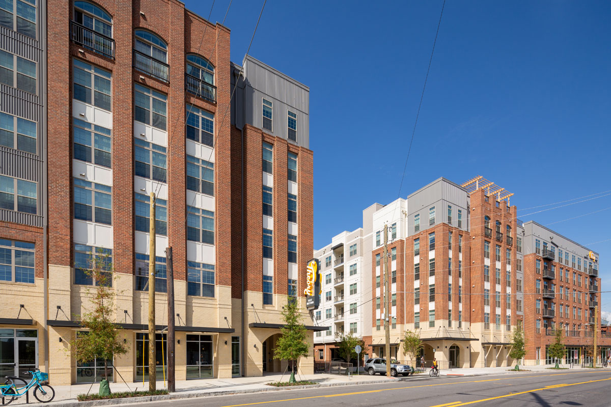 Street level view of Theory West Midtown Student Housing in Atlanta, Georgia by Summit Contracting Group