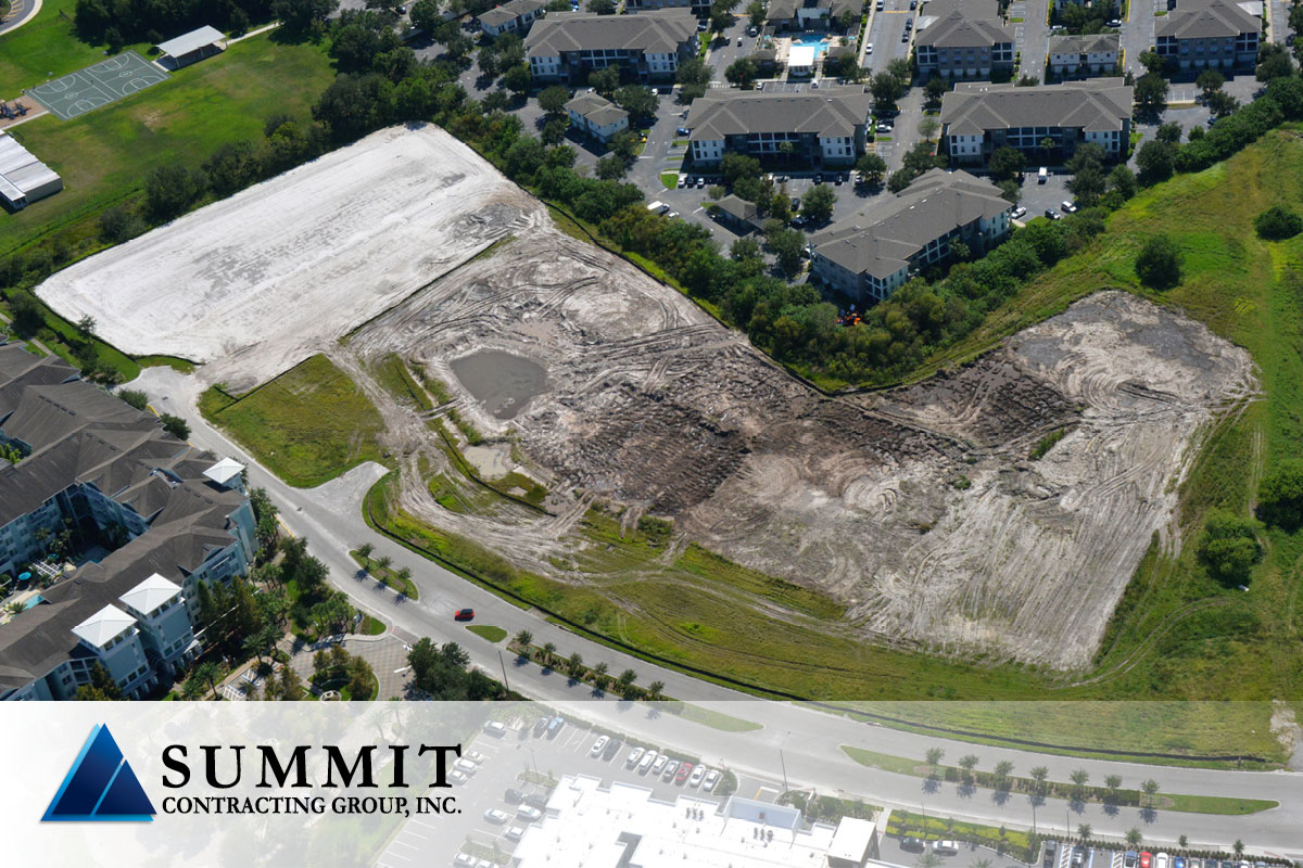 Aerial of empty lot for construction of Millenia Lakes Market Rate Multifamily Development from Summit
