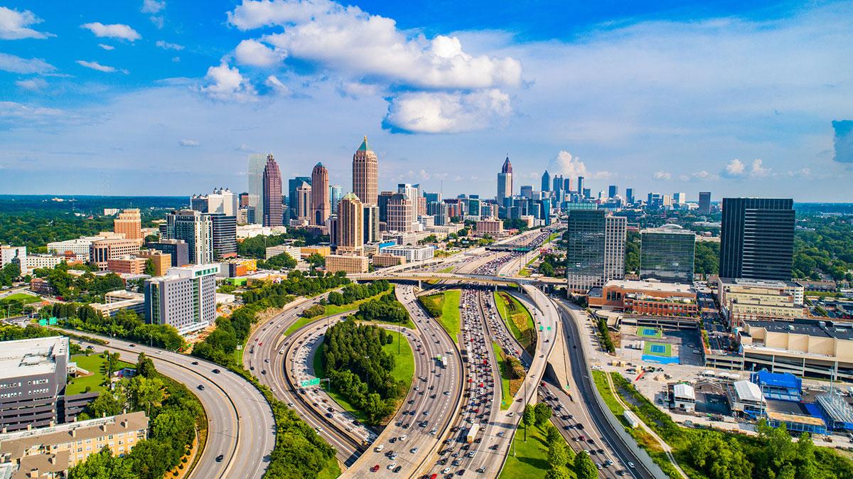 Skyline view with traffic of Atlanta