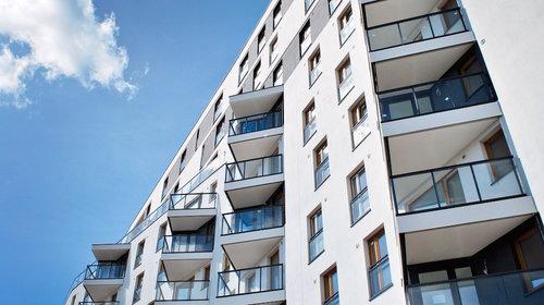 Upward view of apartment balconies