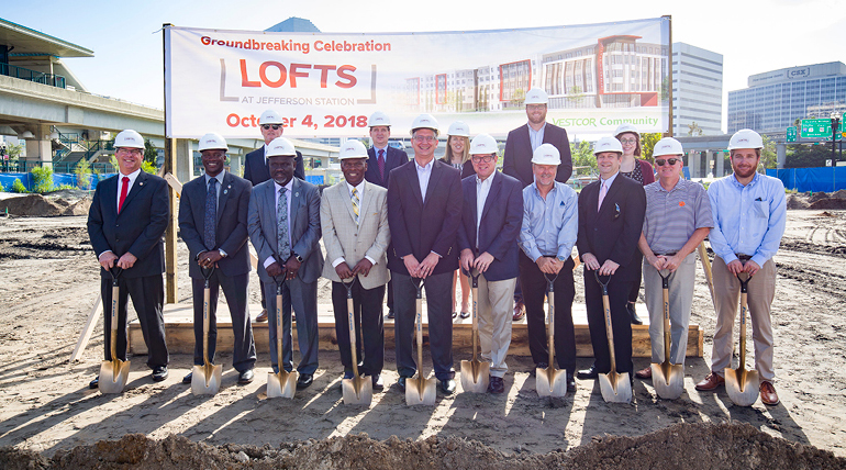 Group photo of Summit contractors with shovels at Lofts at Jefferson Affordable Housing Groundbreaking