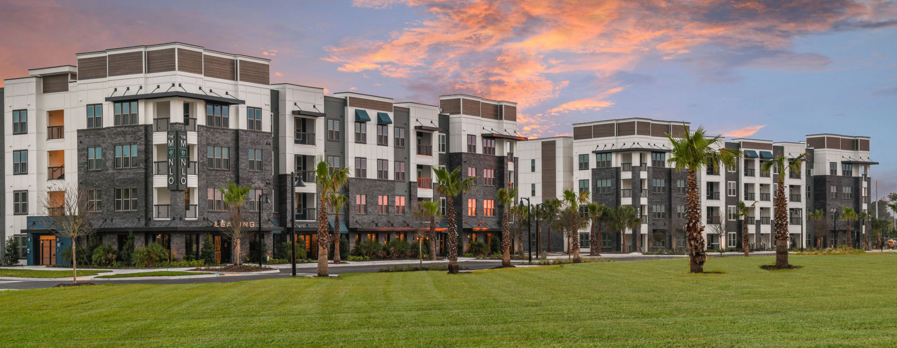 The Menlo Exterior Buildings at Sunset