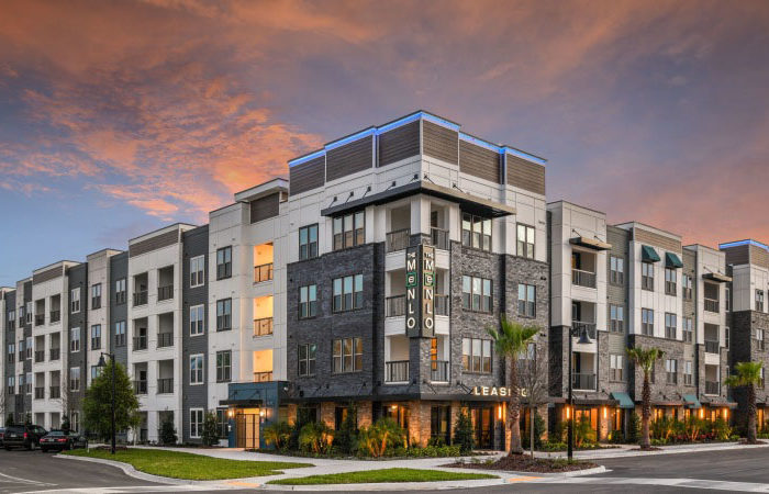 exterior view of The Menlo 4 Story Apartment Building
