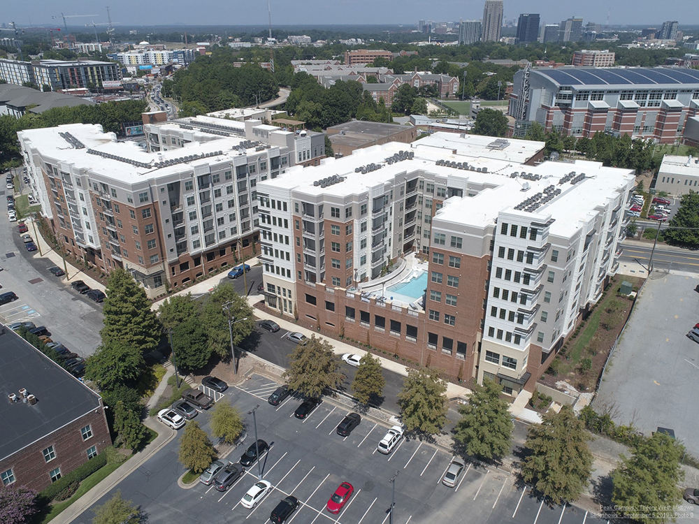 Aerial view of pool area of Theory West Midtown Multifamily Student Housing by Summit Contracting Group