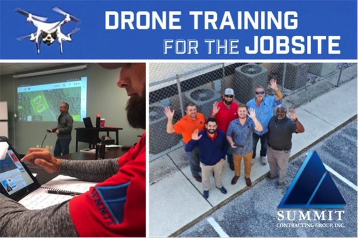Class in session and group photo of Drone Training for the Jobsite at Summit Construction Group