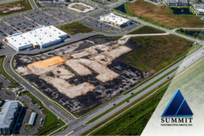 Aerial shot of construction beginning for Madison Pointe Class A Multifamily Apartments by Summit