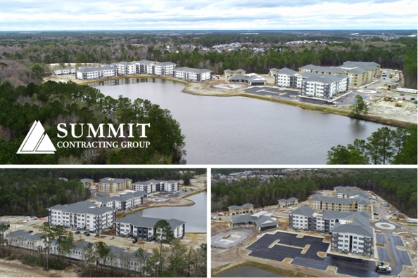 Aerial view of Mosby Lakeside Market Rate Apartments by Summit Construction Group