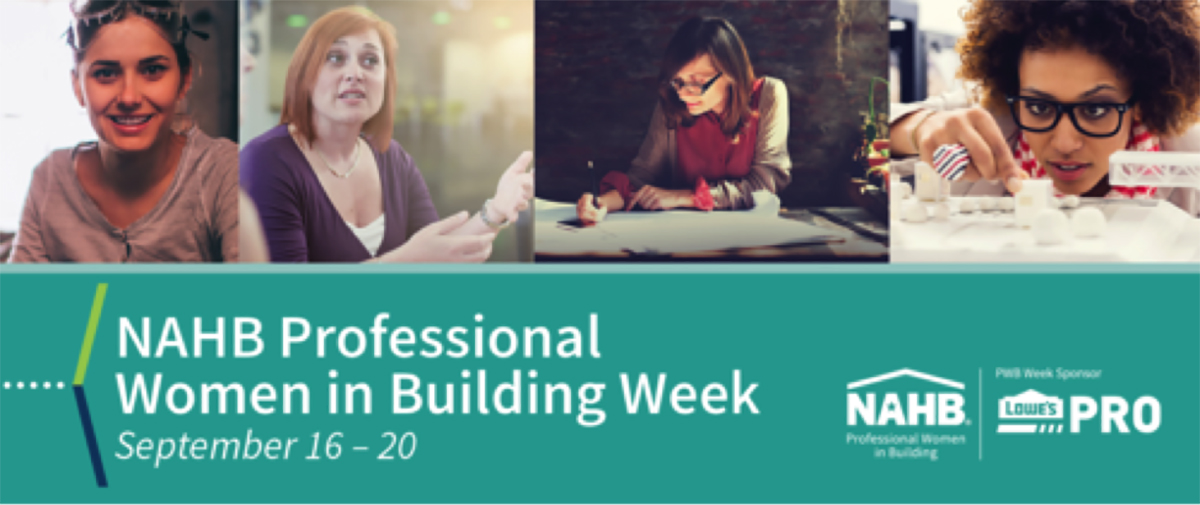 Banner image with portraits of women at work for NAHB Professional Women in Building Week