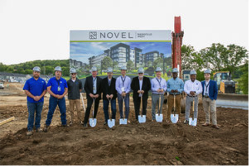 Groundbreaking event group photo for Novel Nashville West Multifamily Construction by Summit Construction Group