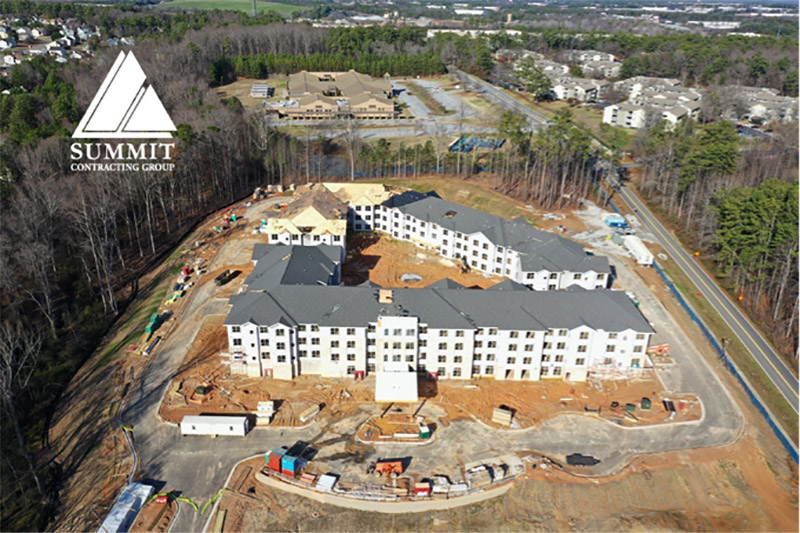 Aerial view of Renaissance Senior Living Apartments Atlanta Georgia from Summit Construction Group