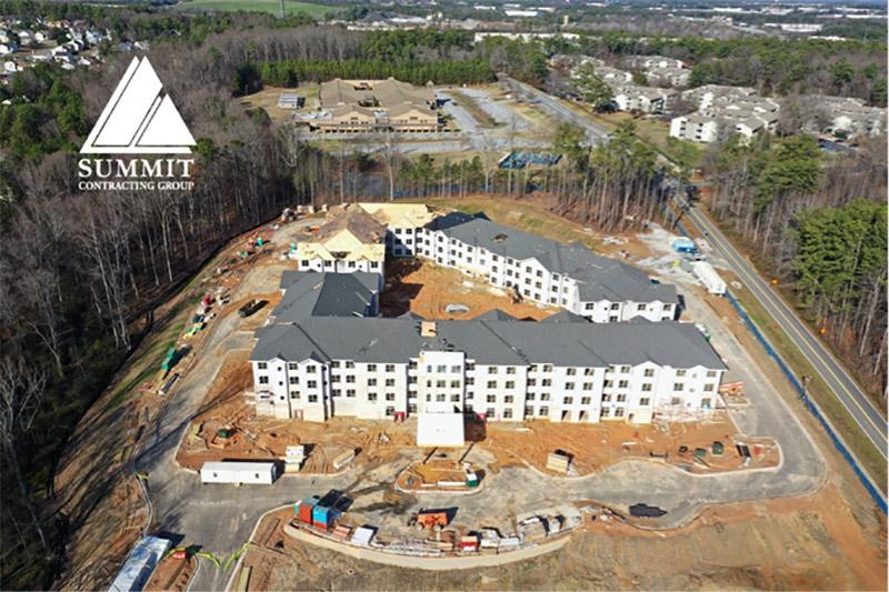 Aerial view of Renaissance Senior Living Apartments Atlanta Georgia from Summit Construction Group