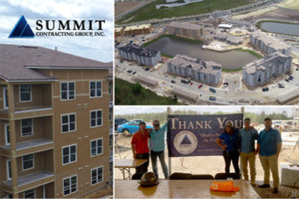 Construction site and employee group photo for San Mateo Crossing Multifamily Development by Summit Construction Group