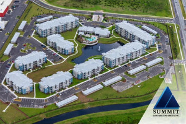 Aerial view of Tomoka Pointe Market Rate Apartments by Summit Construction Group