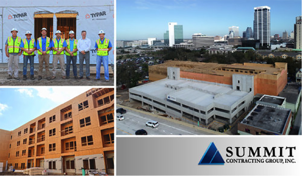 Collage of construction workers and construction site for SoBa Market Rate Apartments by Summit Construction Group
