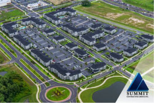 Aerial view of Volaris Starkey Ranch Market Rate Multifamily Apartments from Summit Construction Group