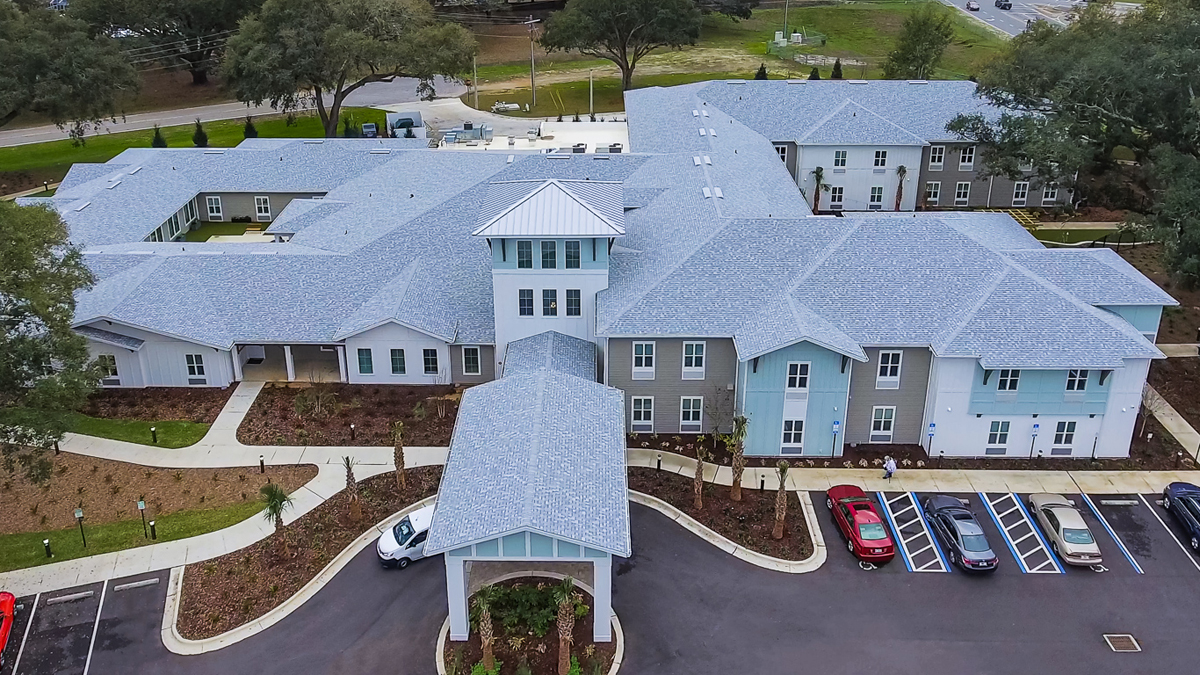 front aerial view of The Canopy on Berryhill assisted living apartments