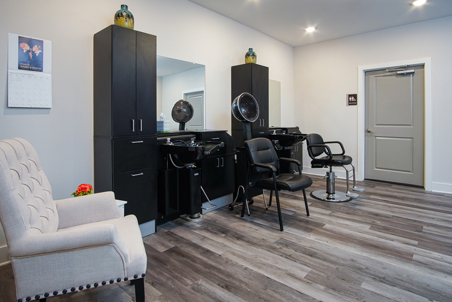 Salon inside The Canopy on Berryhill assisted living apartments