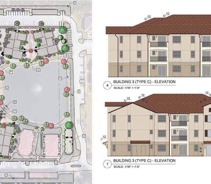 Rendering of Tuscan Reserve Market Rate Apartments with overhead view of apartments and side views of buildings