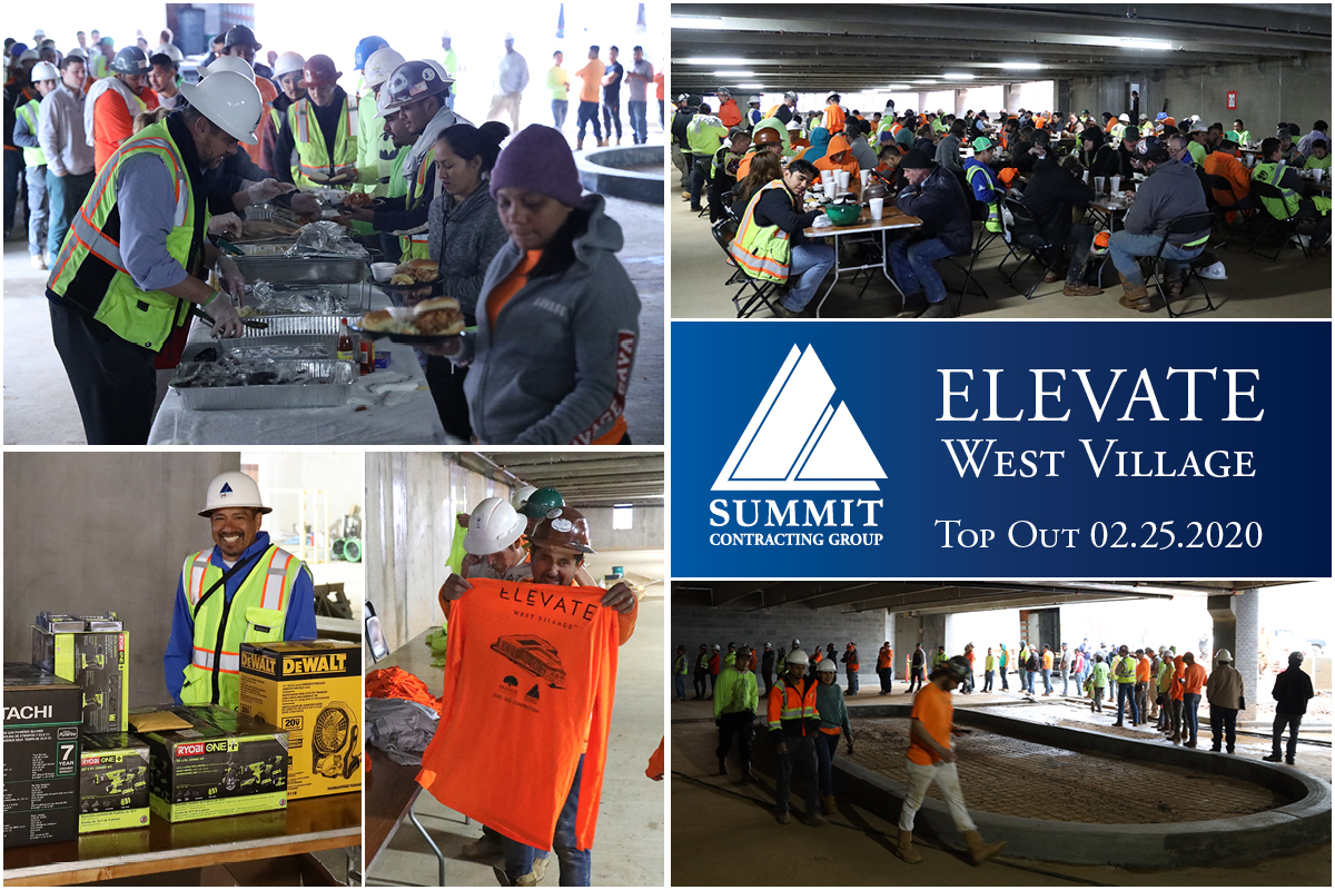 Collage of construction crews working and eating at Elevate West Village Top Out